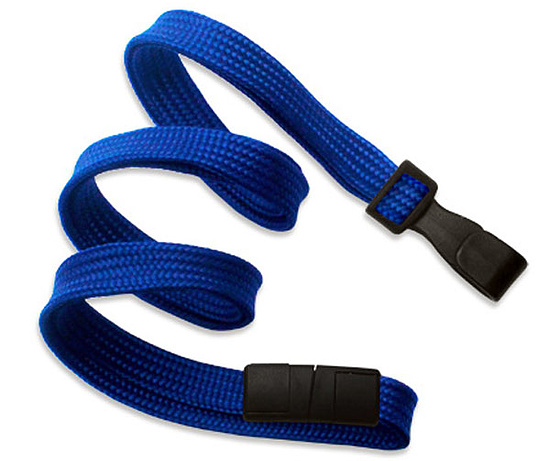 Bild 1 - Lanyard flach 10mm Kunststoffhaken Break-Away Royalblau