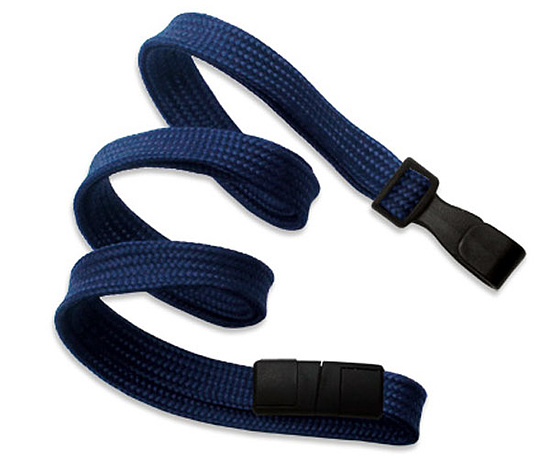 Bild 1 - Lanyard flach 10mm Kunststoffhaken Break-Away Marineblau